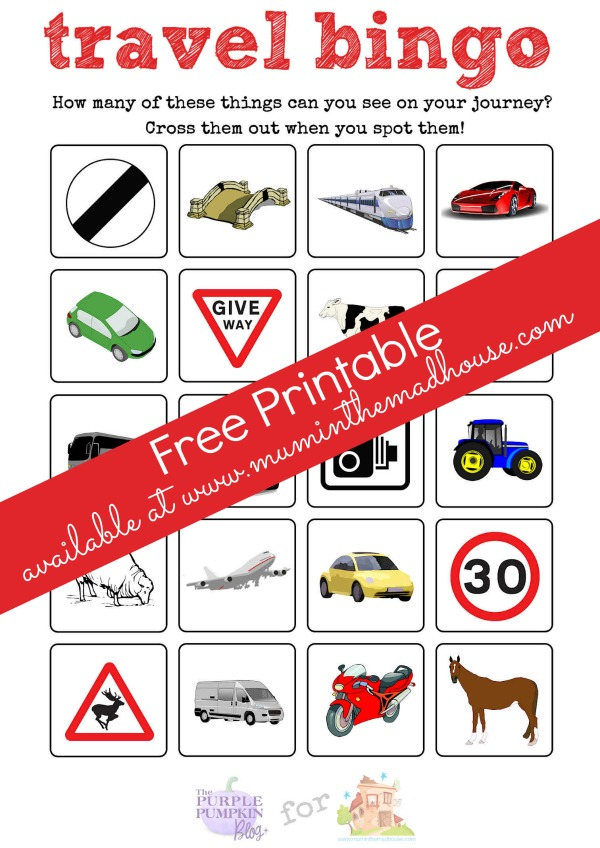 This is a picture of Impertinent Printable Travel Bingo