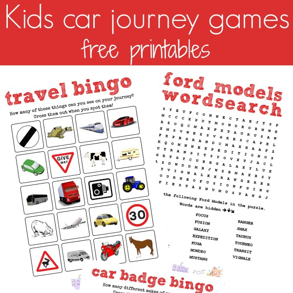 free car journey printables square