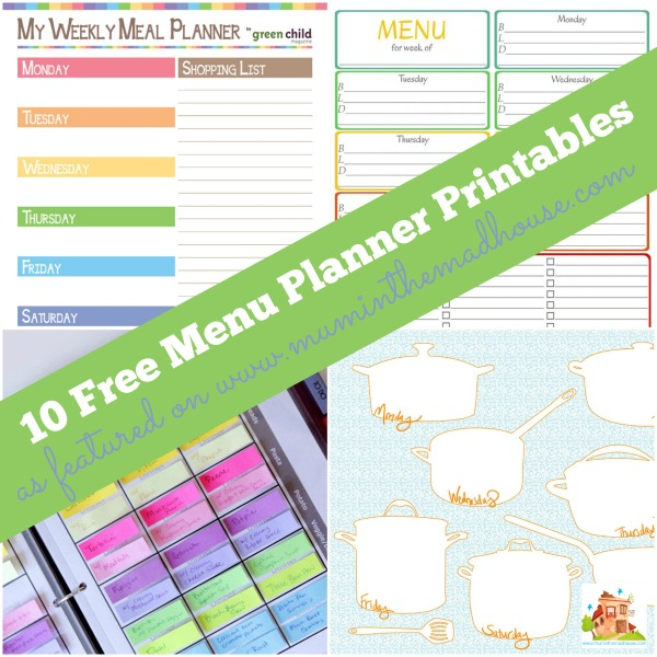 menu plans printables square